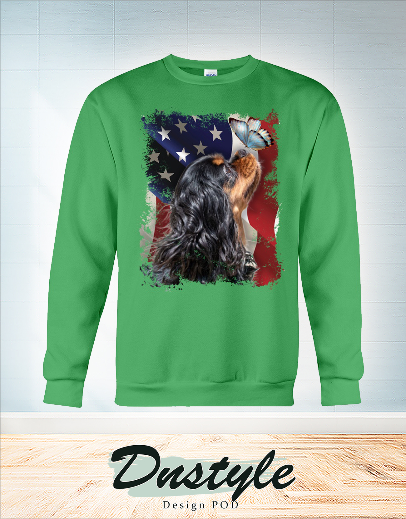 Cavalier king butterfly on nose american flag independence day sweatshirt