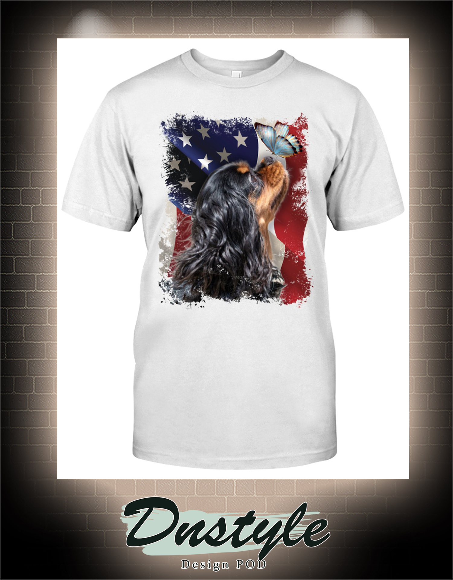Cavalier king butterfly on nose american flag independence day t-shirt