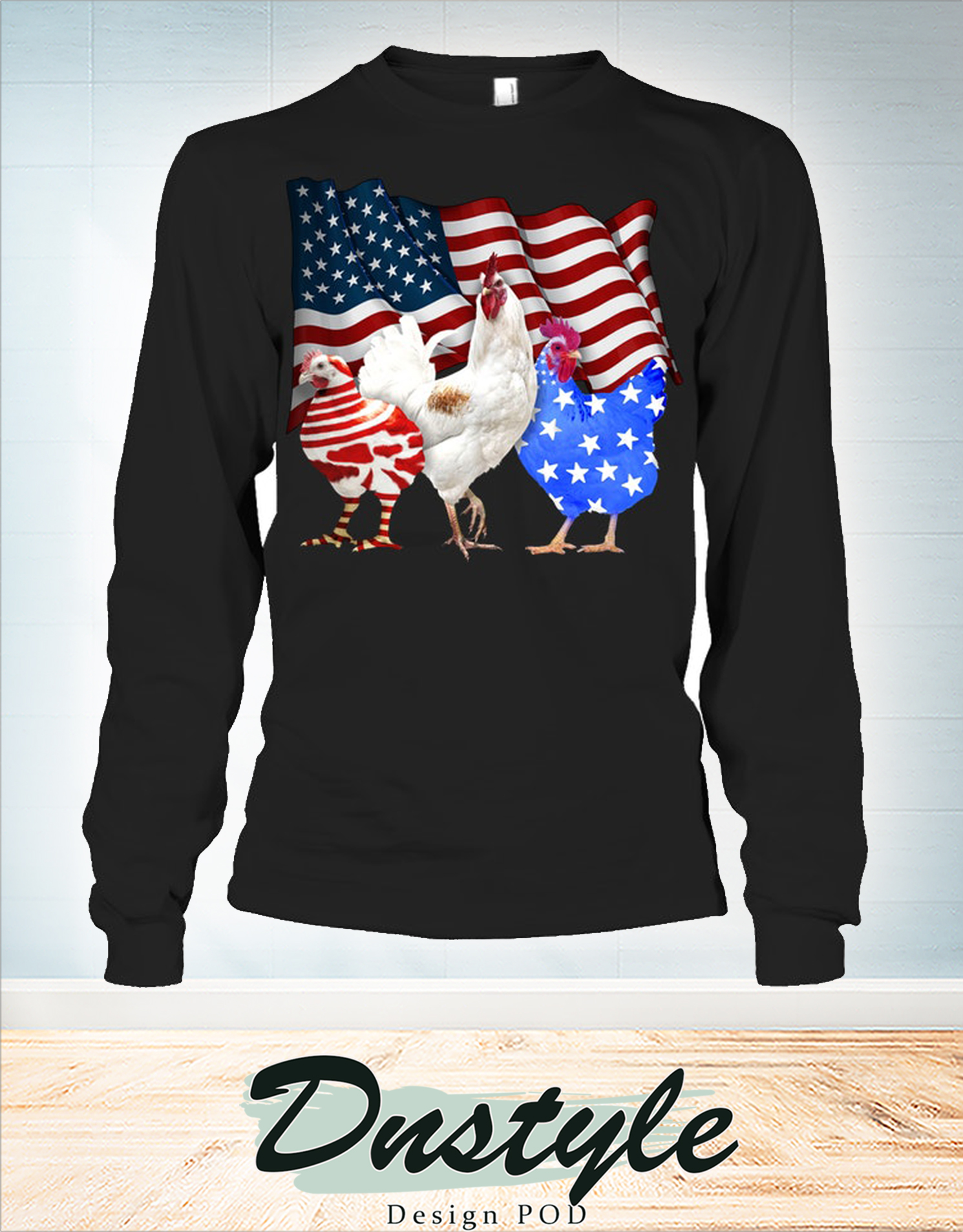 Chicken american flag 4th of july long sleeve