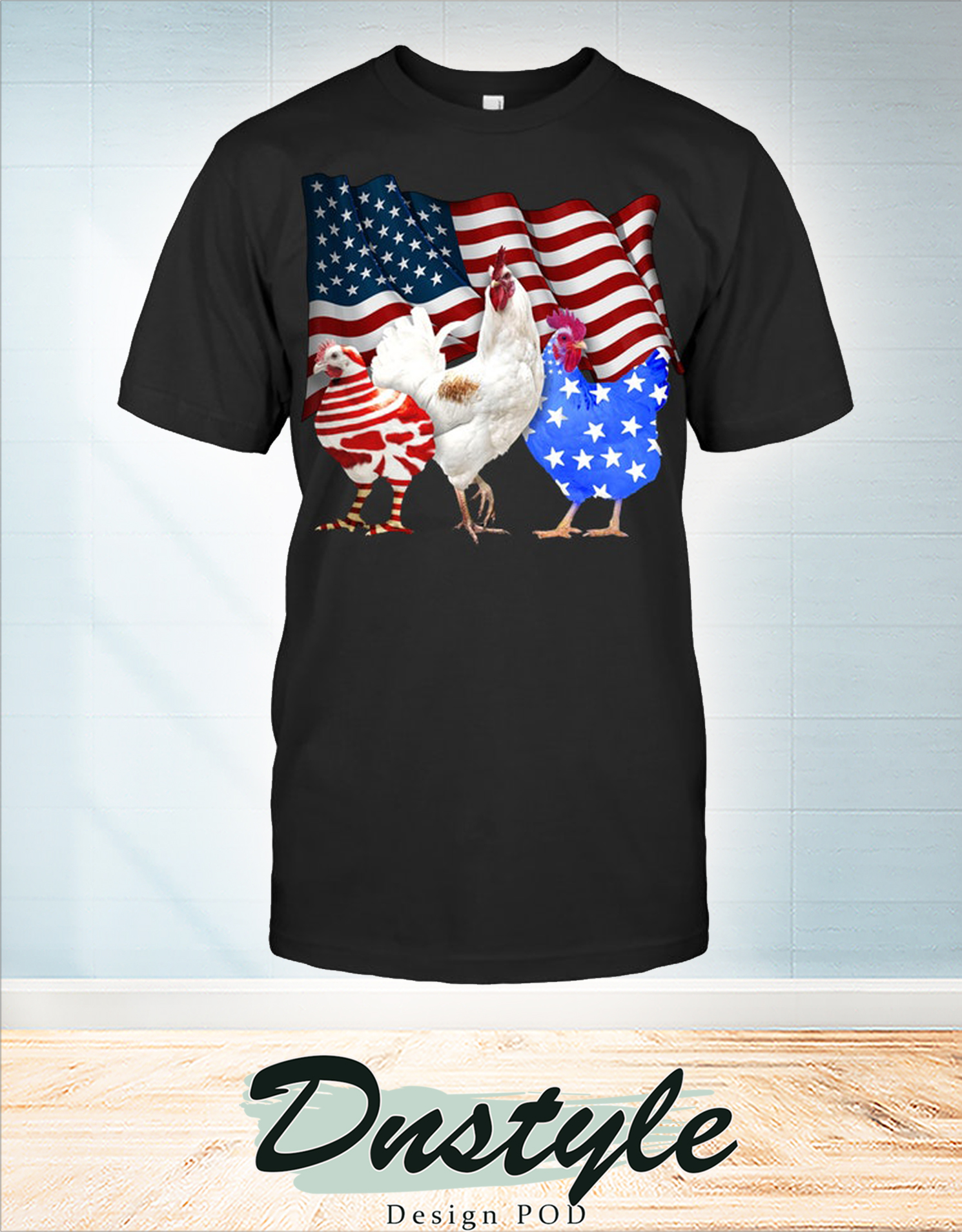 Chicken american flag 4th of july t-shirt