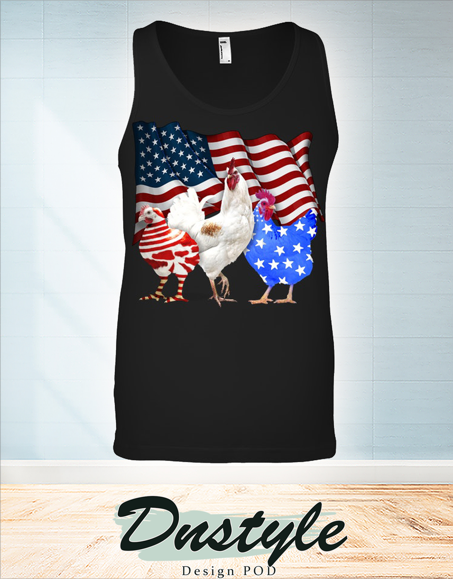 Chicken american flag 4th of july tank