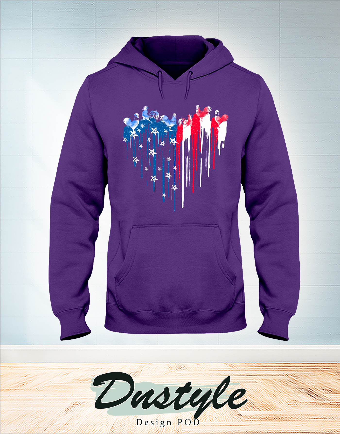 Chicken freedom colorful dripping heart hoodie