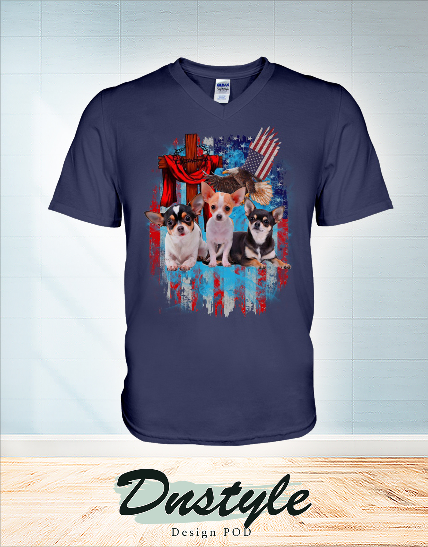 Chihuahua and freedom wings american flag eagle cross independence day v-neck