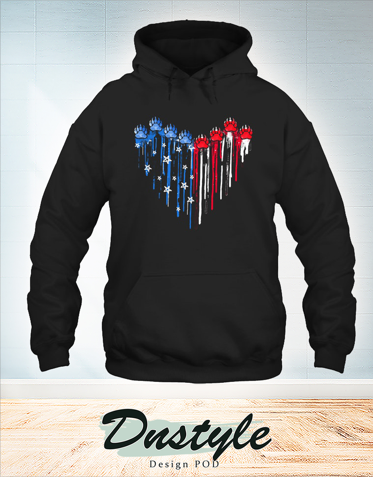 Colorful dripping heart bear paw hoodie