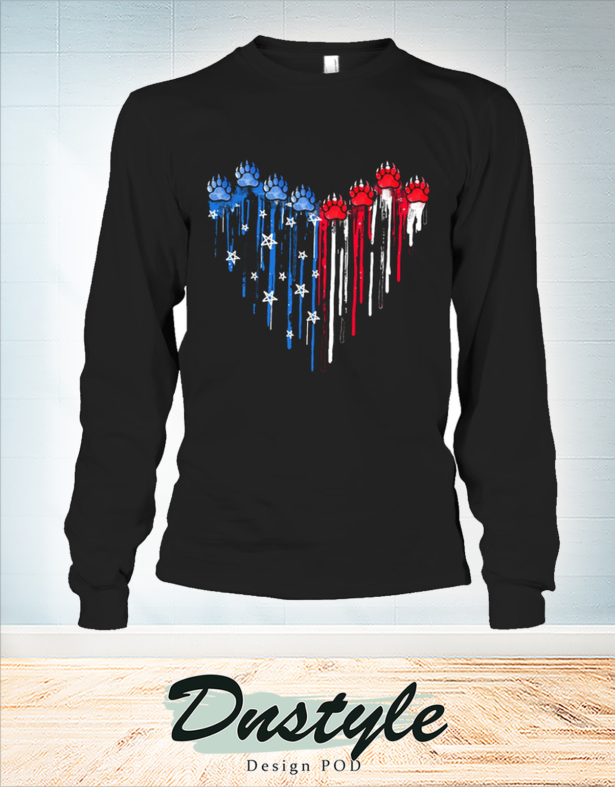 Colorful dripping heart bear paw long sleeve