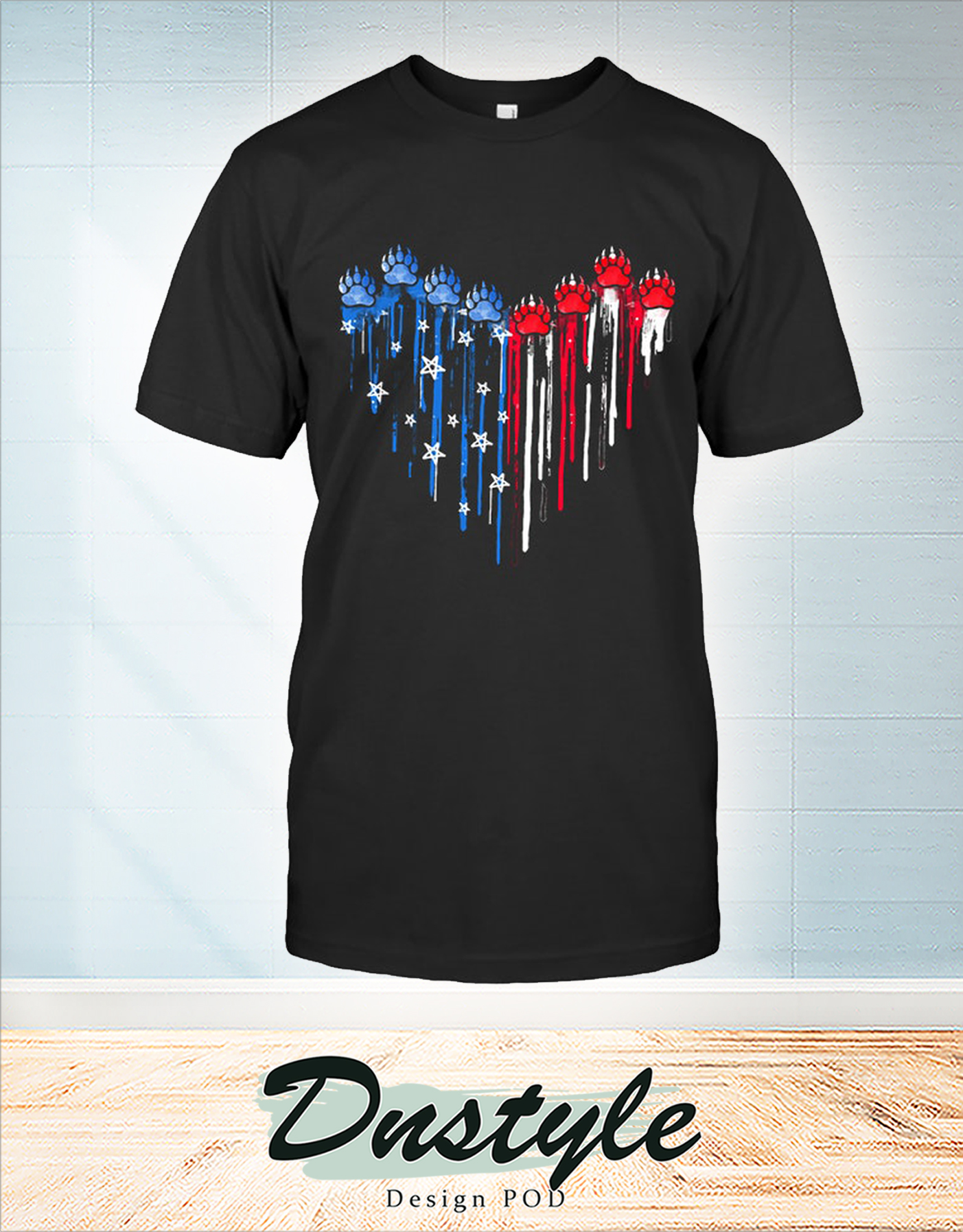 Colorful dripping heart bear paw shirt