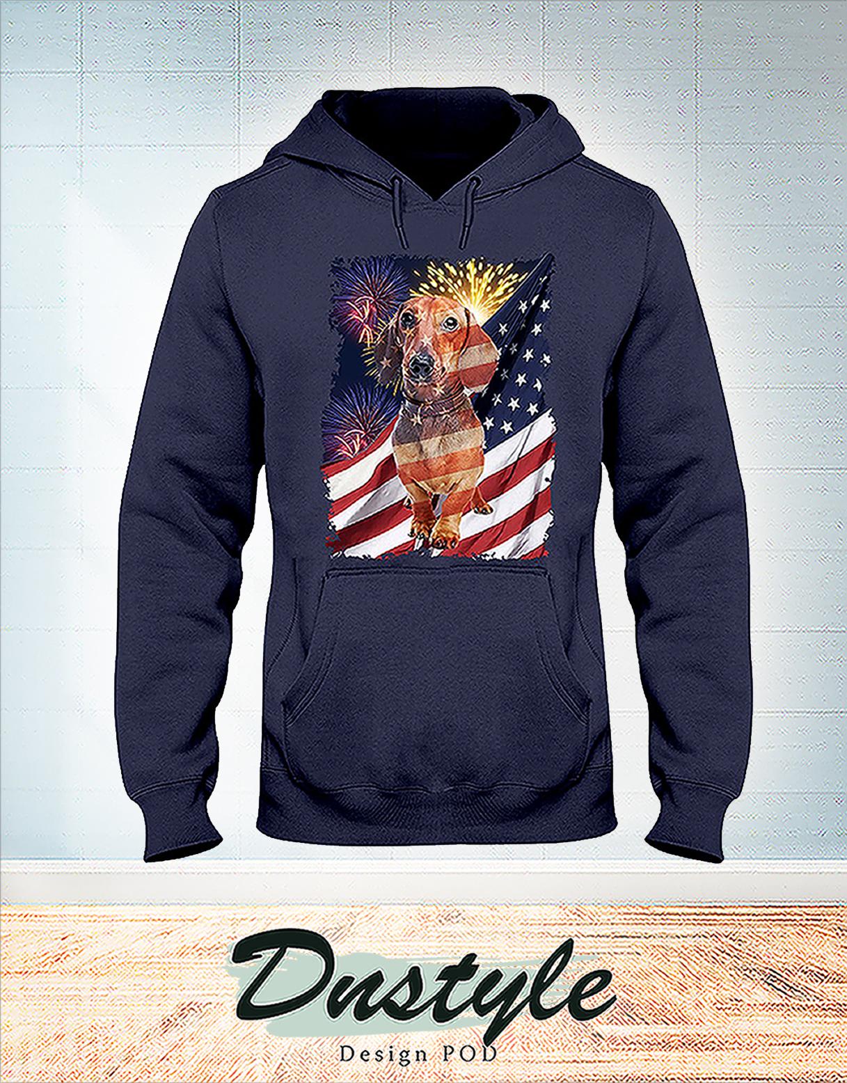 Dachshund america freedom calling 4th of July hoodie