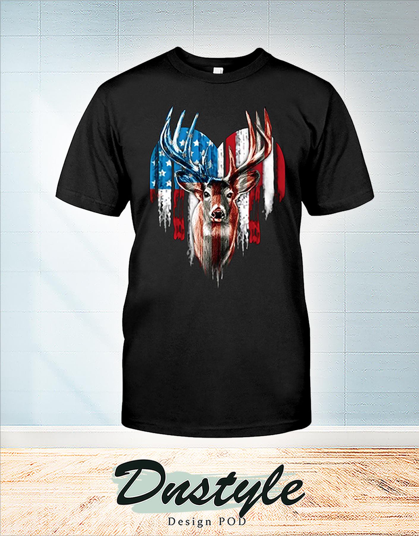 Deer american flag heart t-shirt