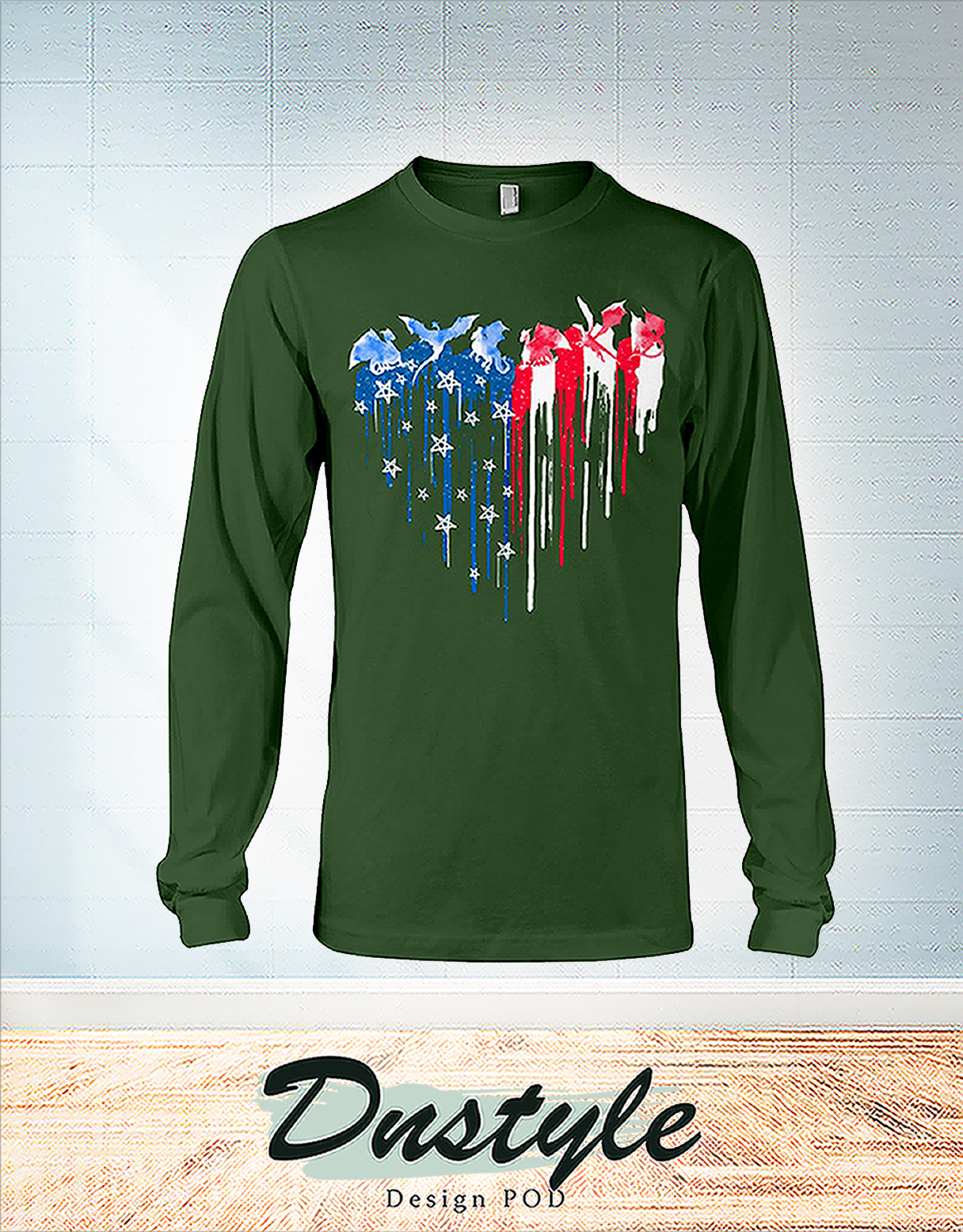 Dragon freedom colorful dripping heart long sleeve