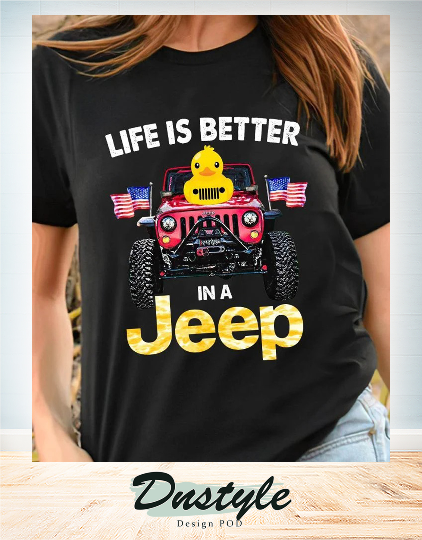 Duck duck life is better in a jeep american flag t-shirt