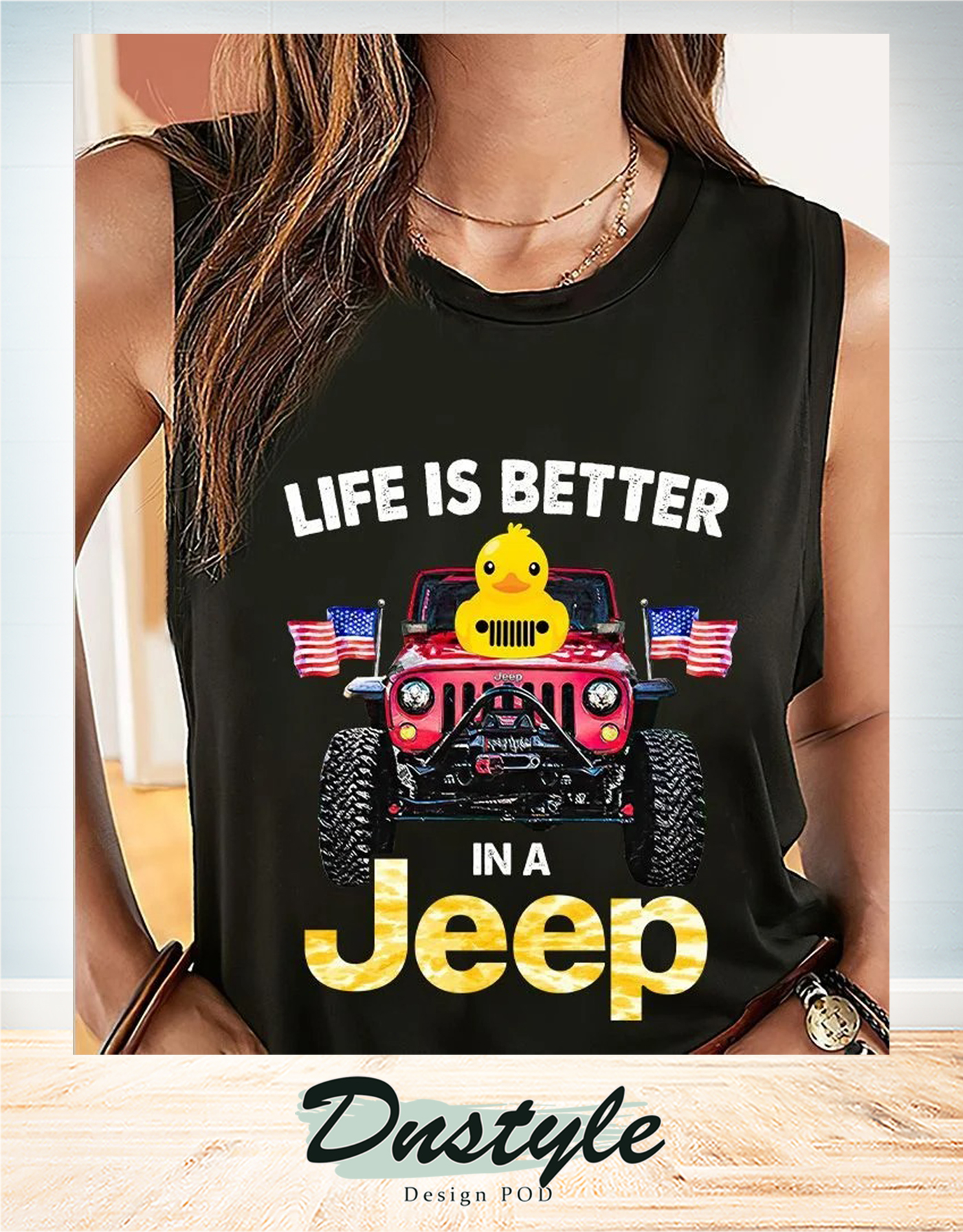 Duck duck life is better in a jeep american flag tank