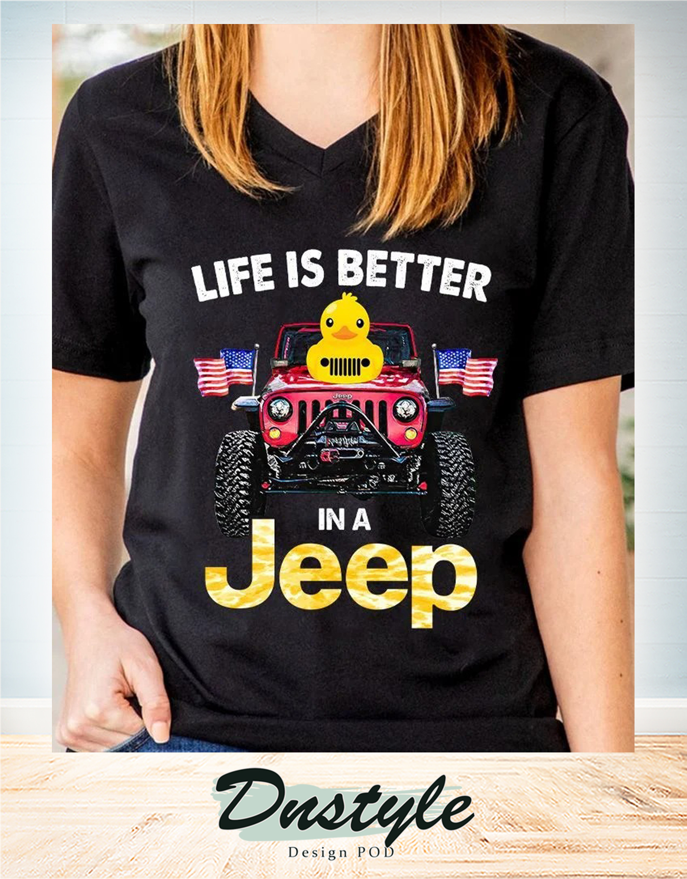 Duck duck life is better in a jeep american flag v-neck