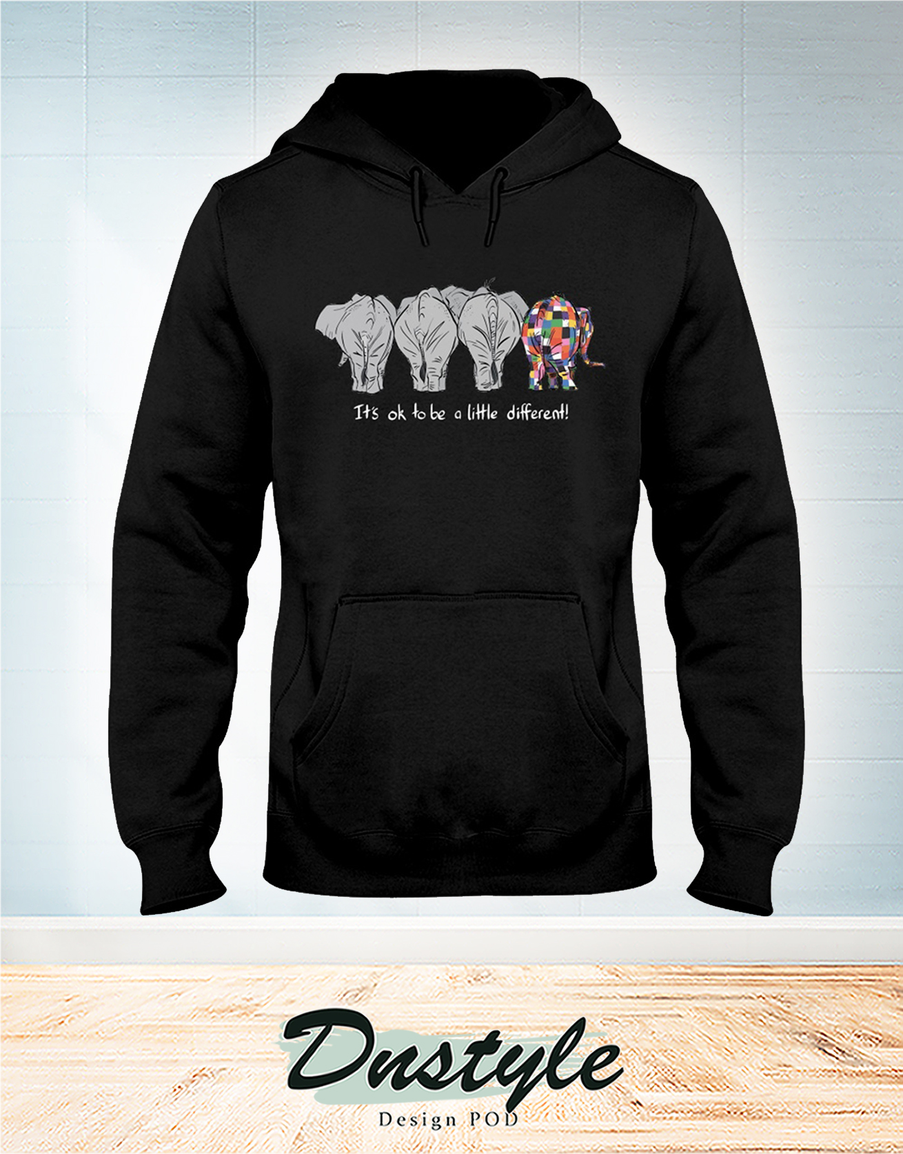 Elephant autism awareness it's ok to be a little different hoodie
