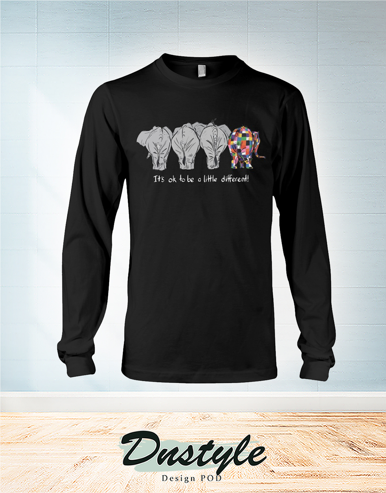 Elephant autism awareness it's ok to be a little different long sleeve