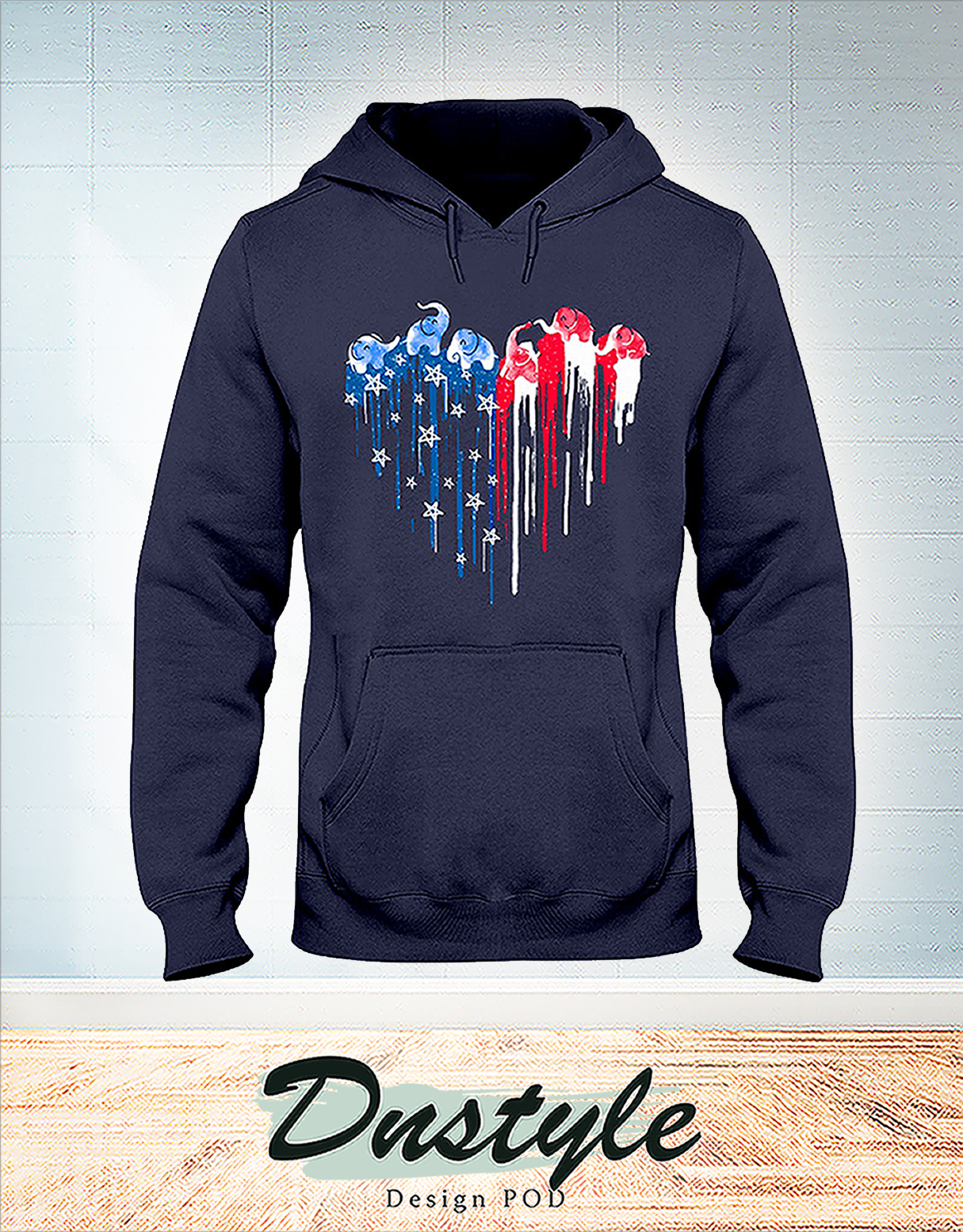 Elephant freedom colorful dripping heart hoodie