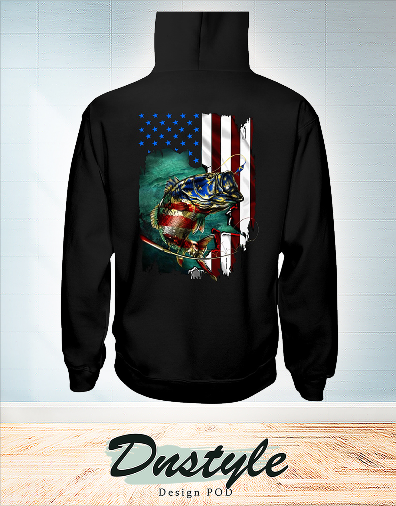 Fishing american flag independence day hoodie