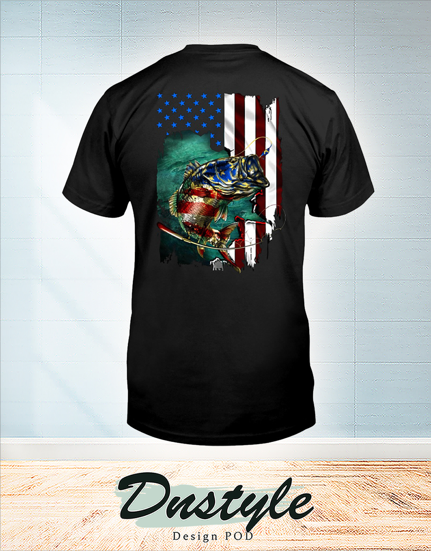 Fishing american flag independence day t-shirt