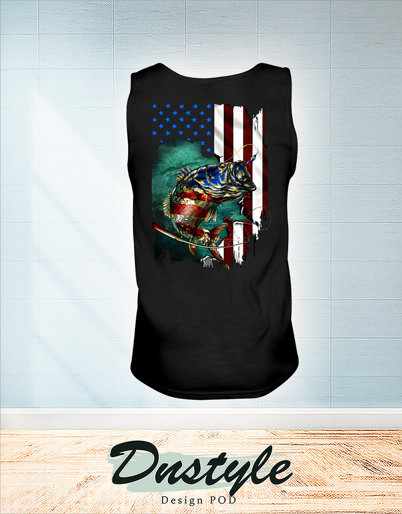Fishing american flag independence day tank