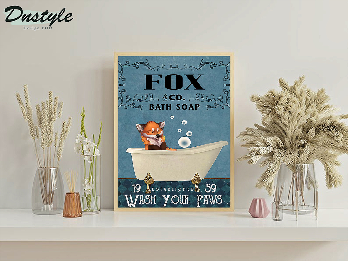 Fox co bath soap wash your paws poster