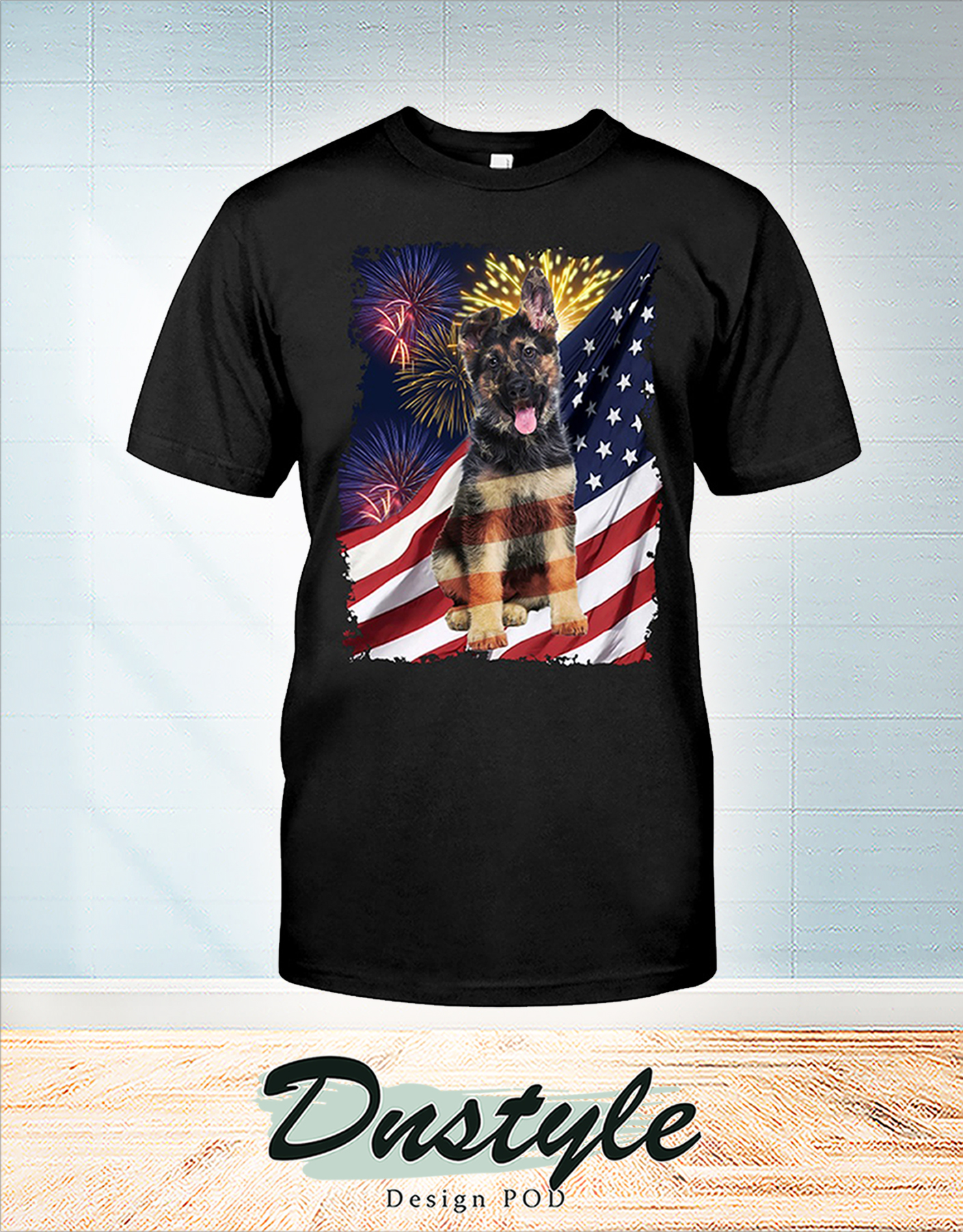 German Shepherd america freedom calling 4th july shirt