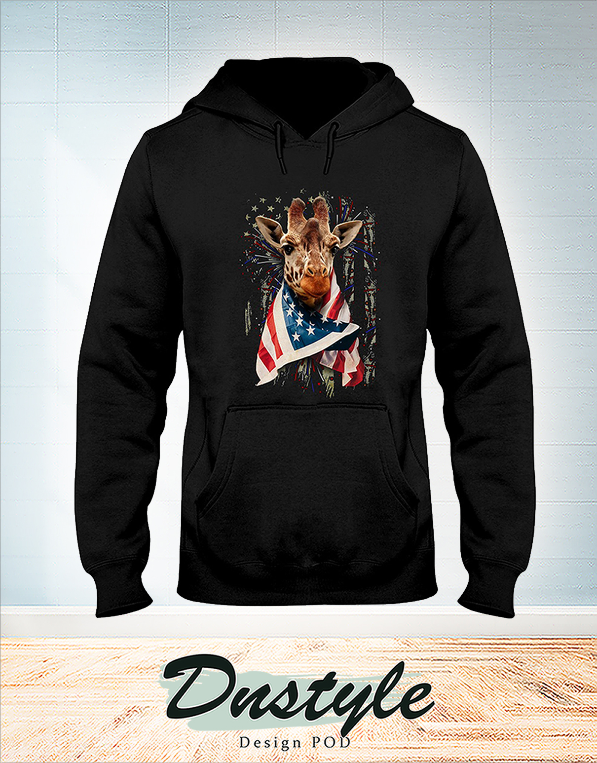 Giraffe cool american flag independence day hoodie