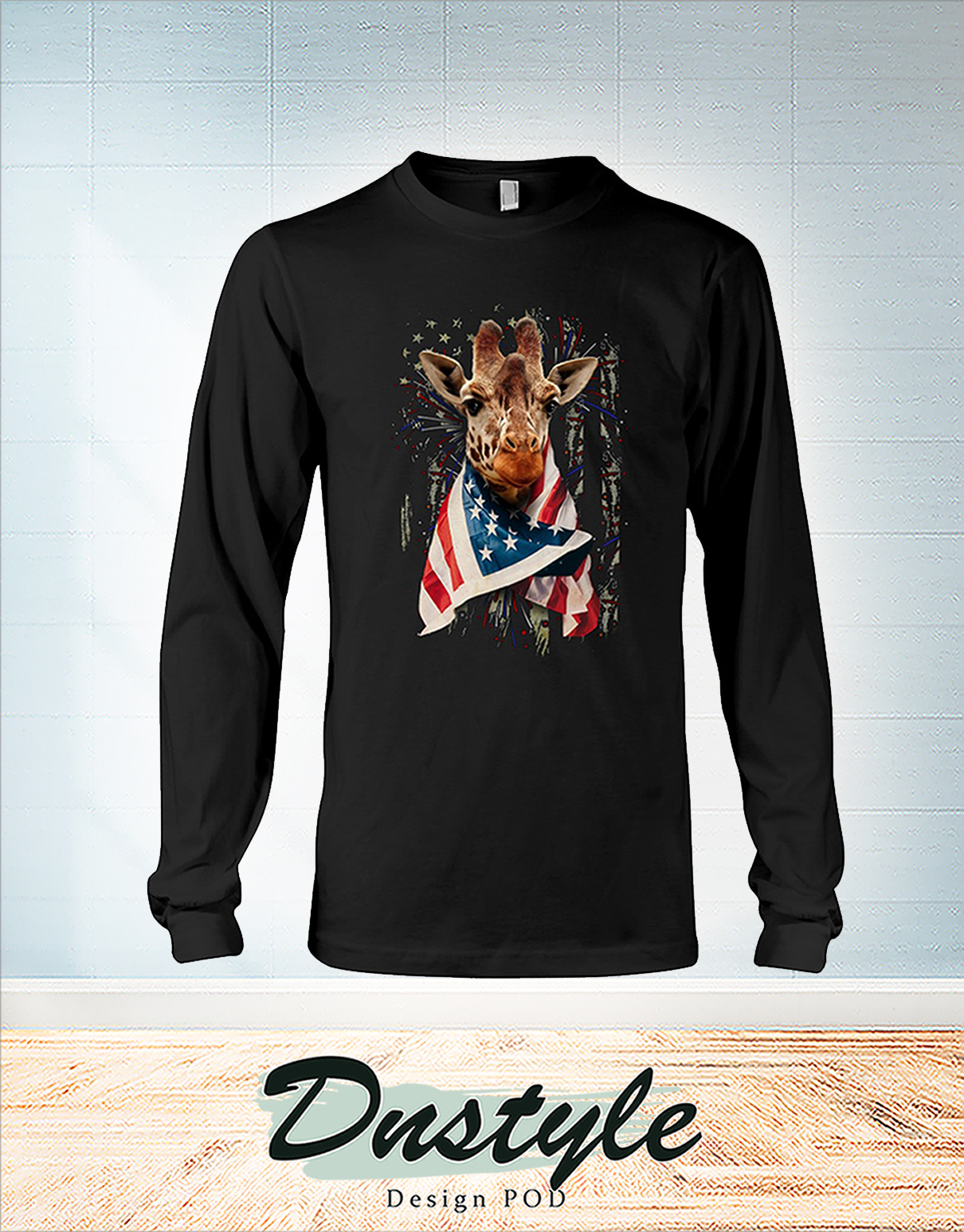 Giraffe cool american flag independence day long sleeve