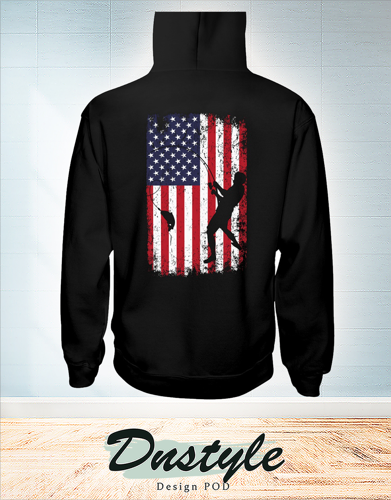 Go fishing american flag independence day hoodie