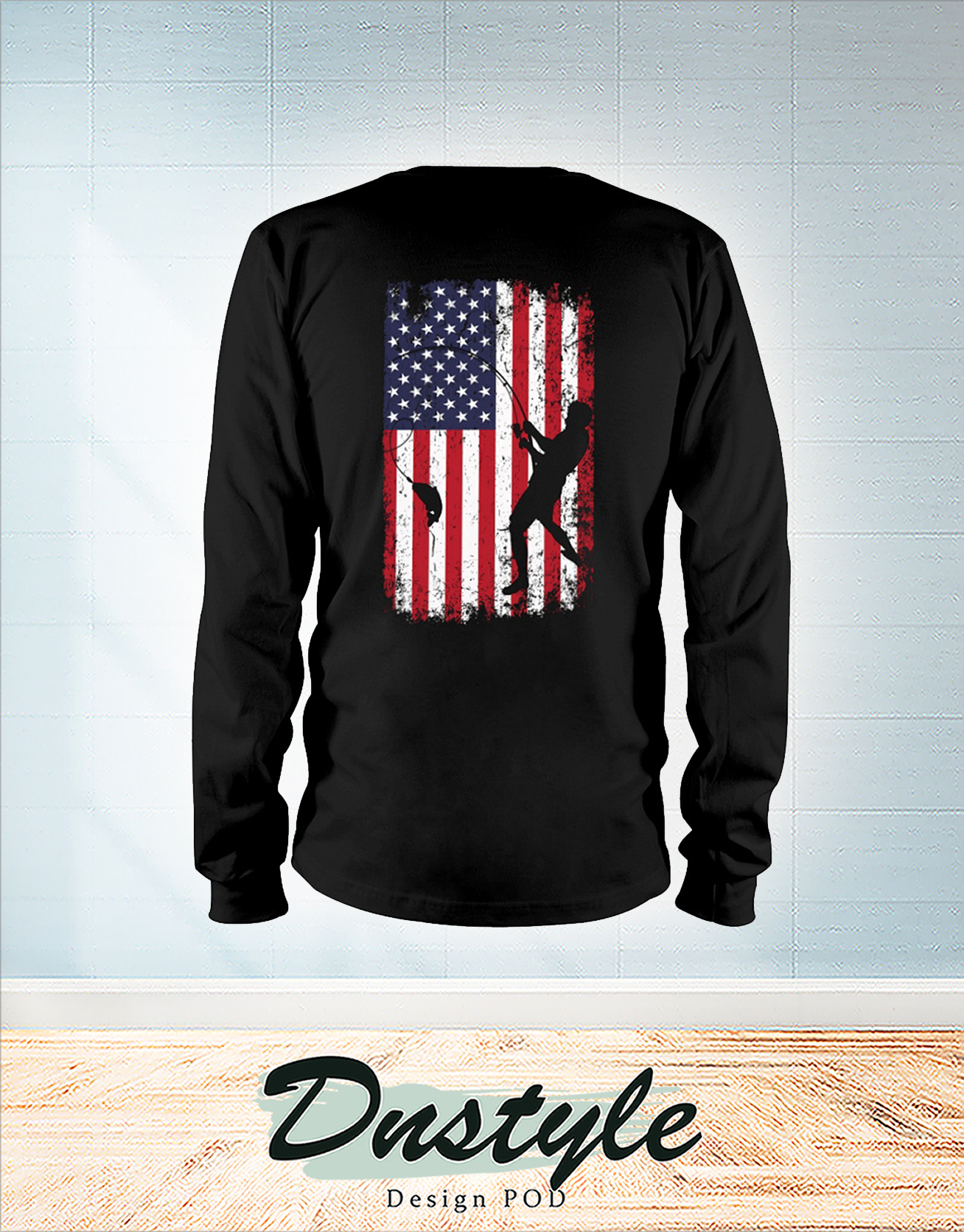Go fishing american flag independence day long sleeve