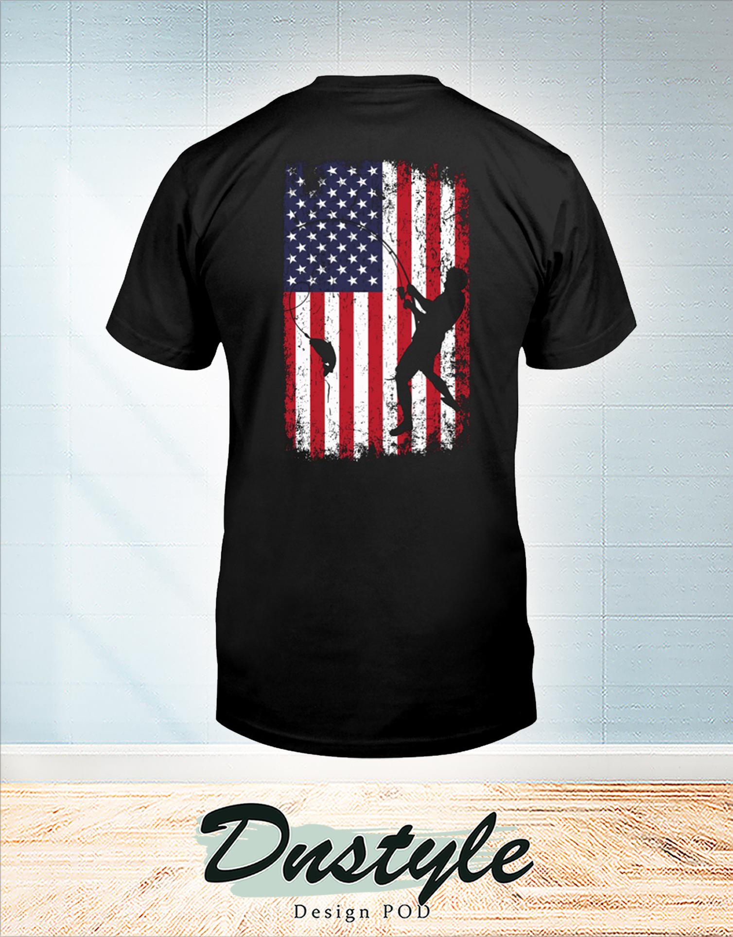 Go fishing american flag independence day t-shirt