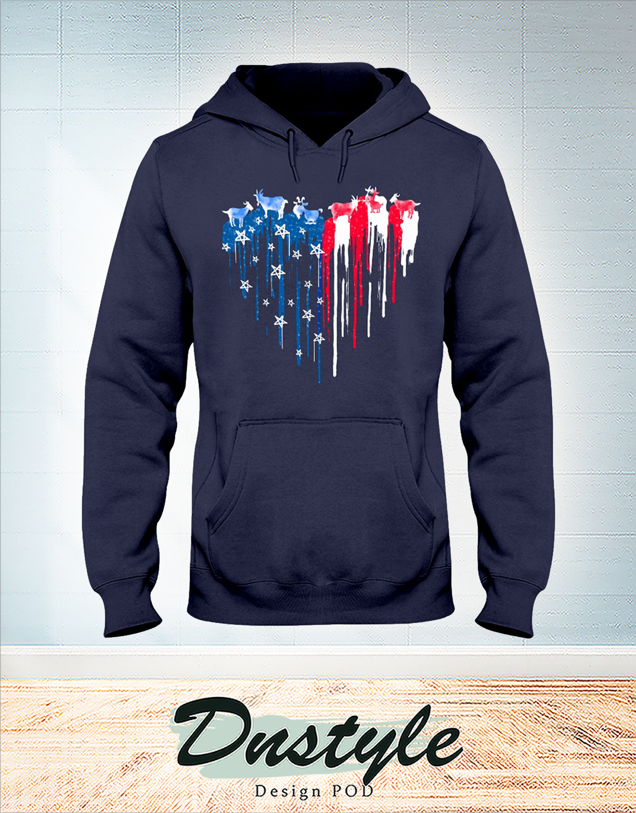 Goat freedom heart color american flag 4th of july hoodie