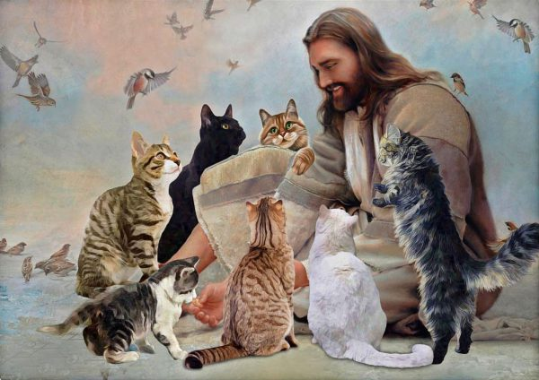 God surrounded by Cats angels poster