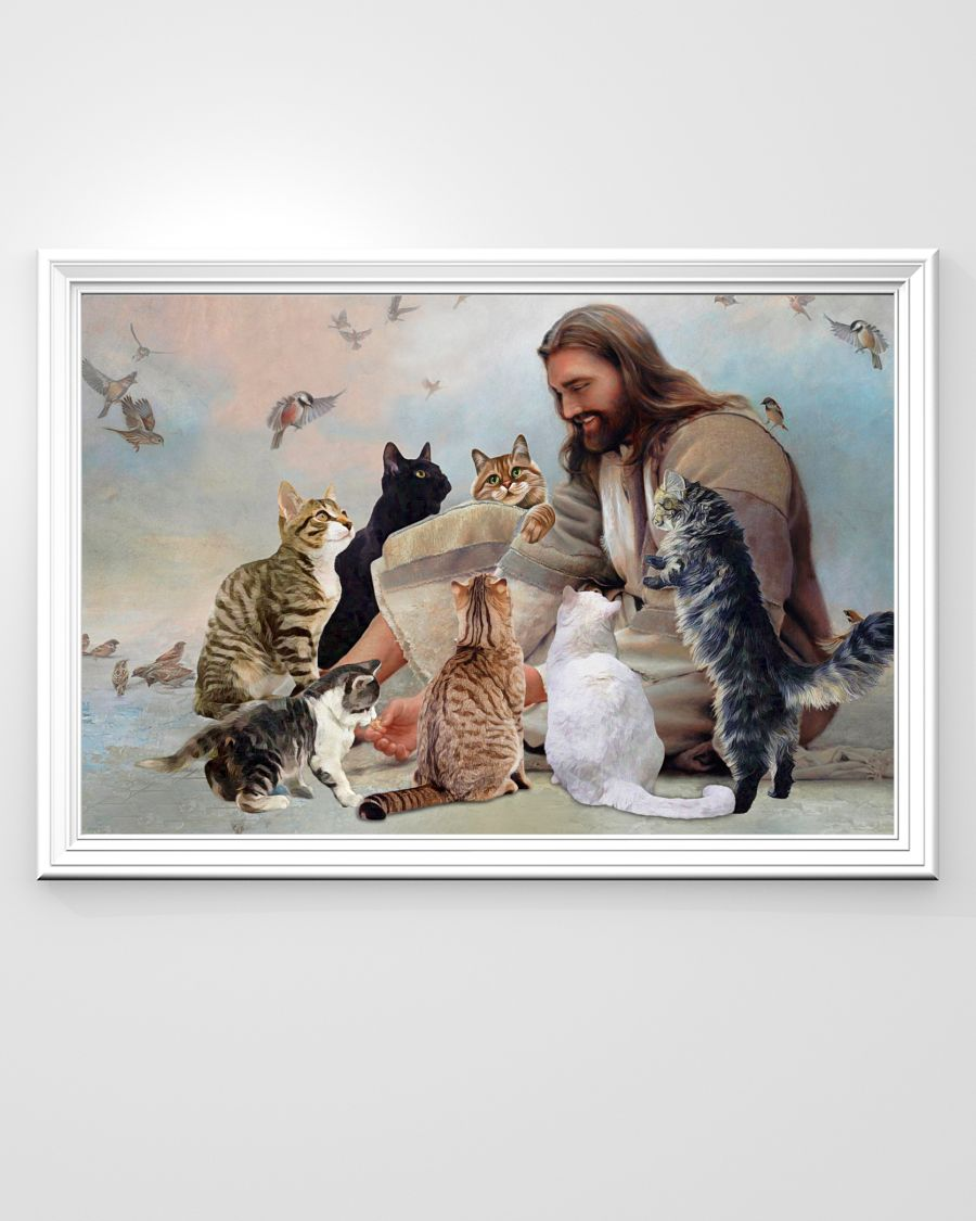 God surrounded by Cats angels poster A1