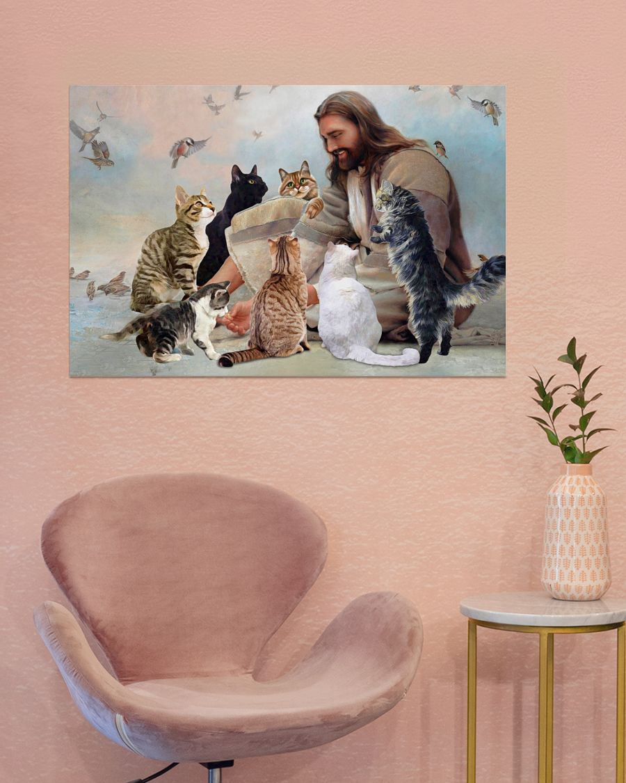 God surrounded by Cats angels poster A3