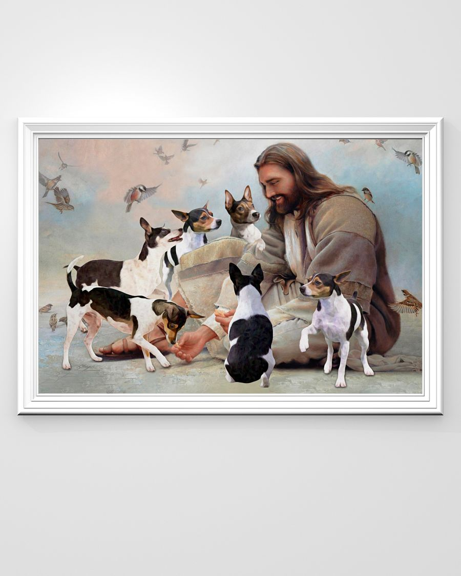God surrounded by Rat Terrier angels poster A2