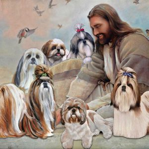 God surrounded by Shih Tzu angel poster
