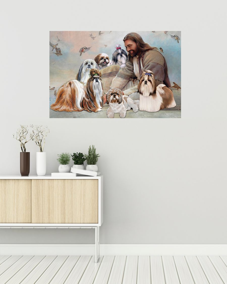 God surrounded by Shih Tzu angel poster A1