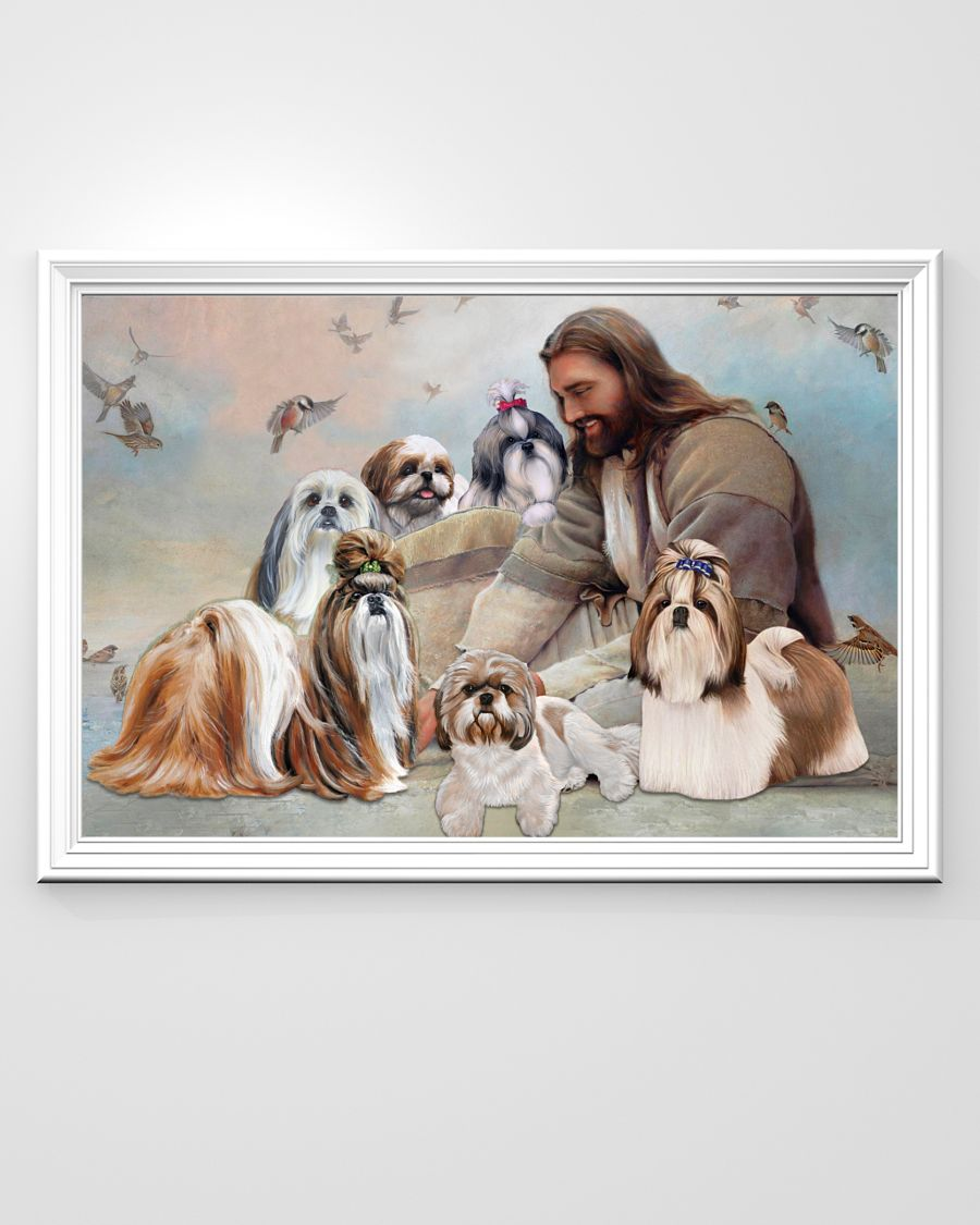 God surrounded by Shih Tzu angel poster A2