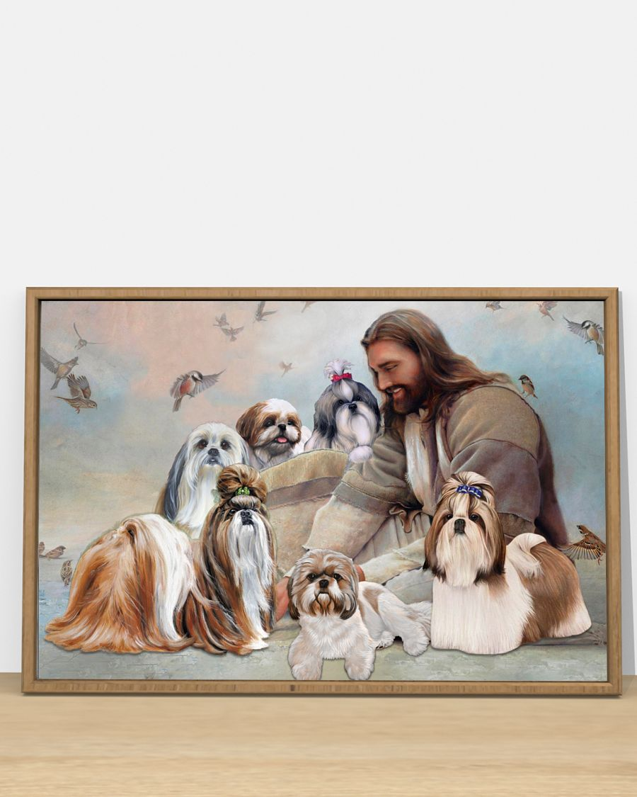 God surrounded by Shih Tzu angel poster A3