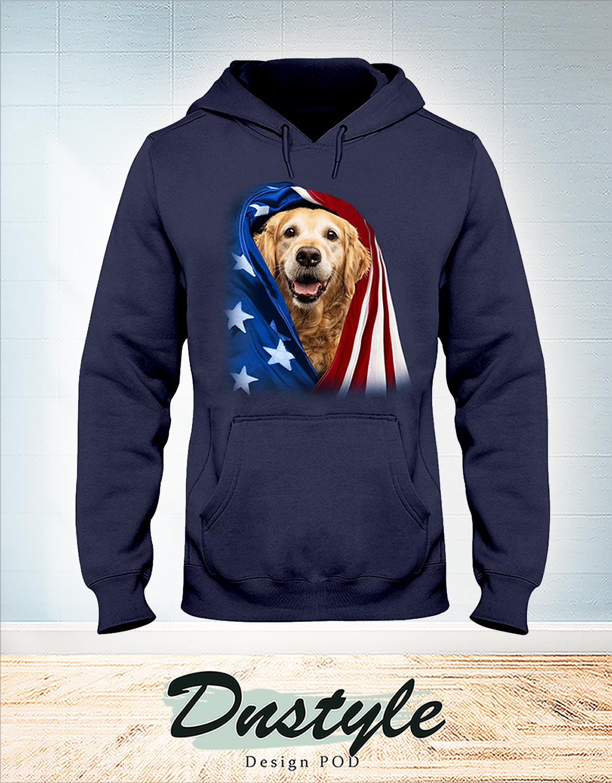 Golden Retriever wrapped in america flag 4th july hoodie