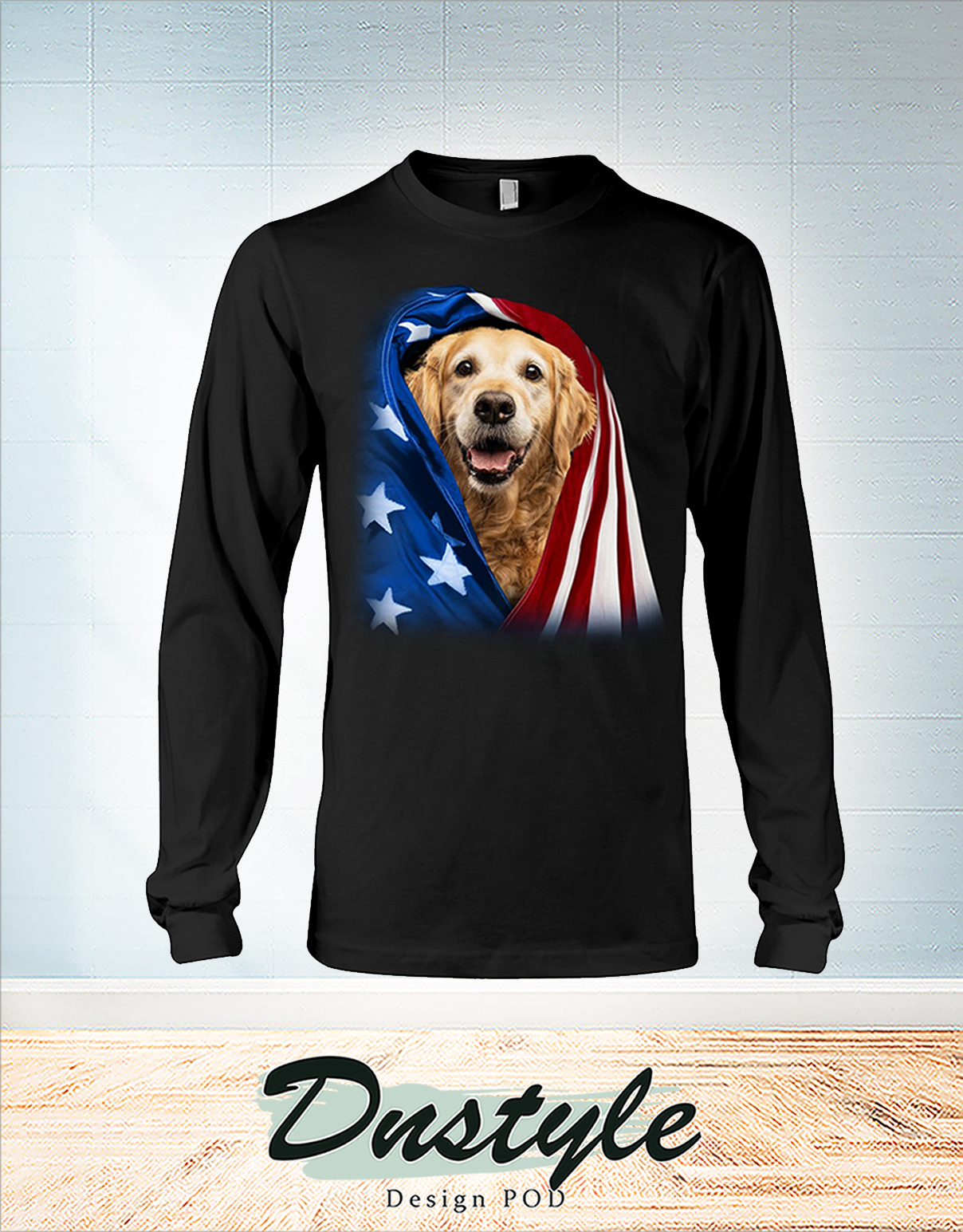 Golden Retriever wrapped in america flag 4th july long sleeve