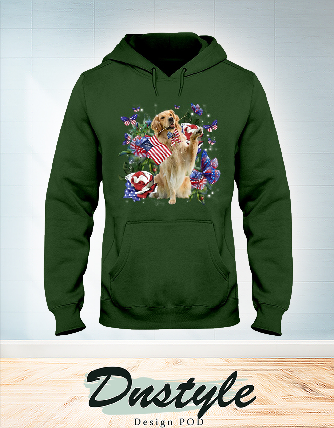 Golden retriever only one nation I love american flag 4th of july hoodie