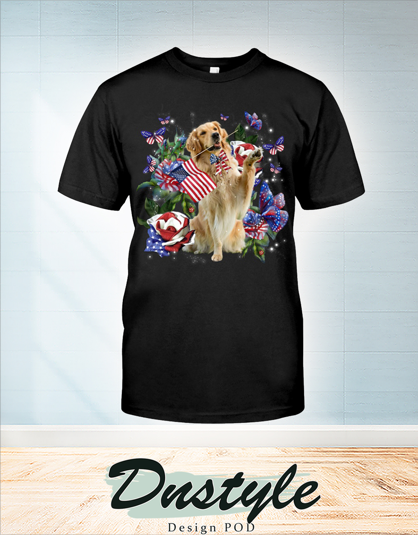 Golden retriever only one nation I love american flag 4th of july t-shirt