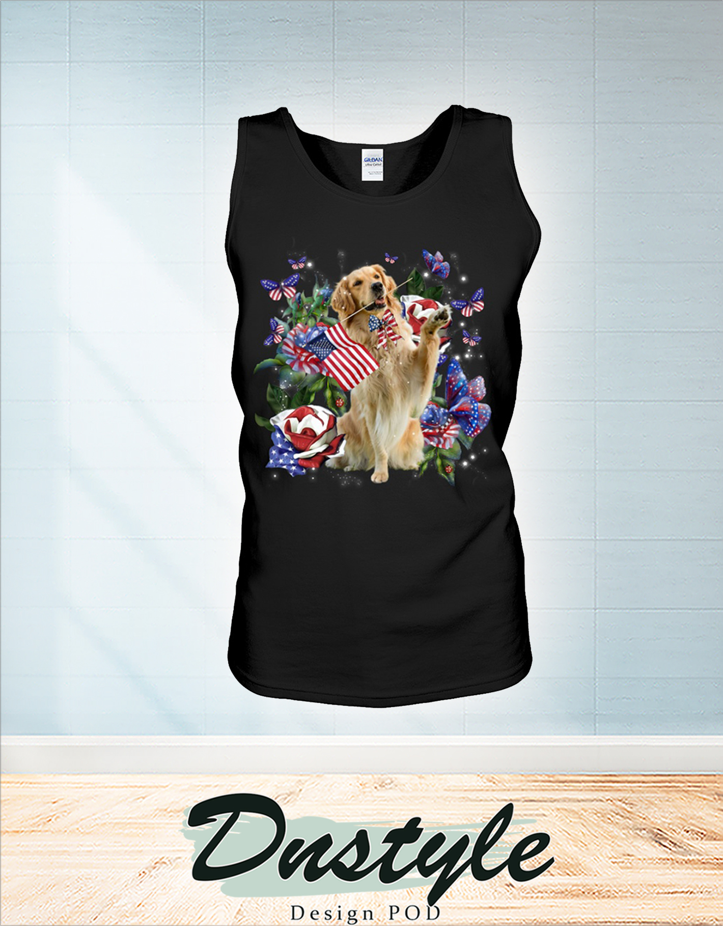 Golden retriever only one nation I love american flag 4th of july tank