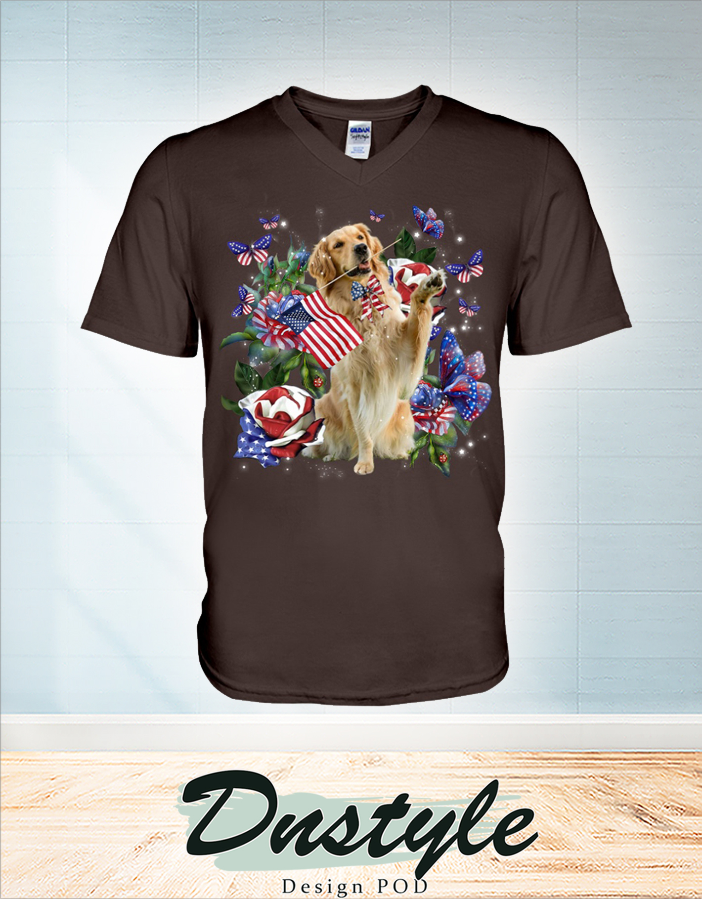 Golden retriever only one nation I love american flag 4th of july v-neck