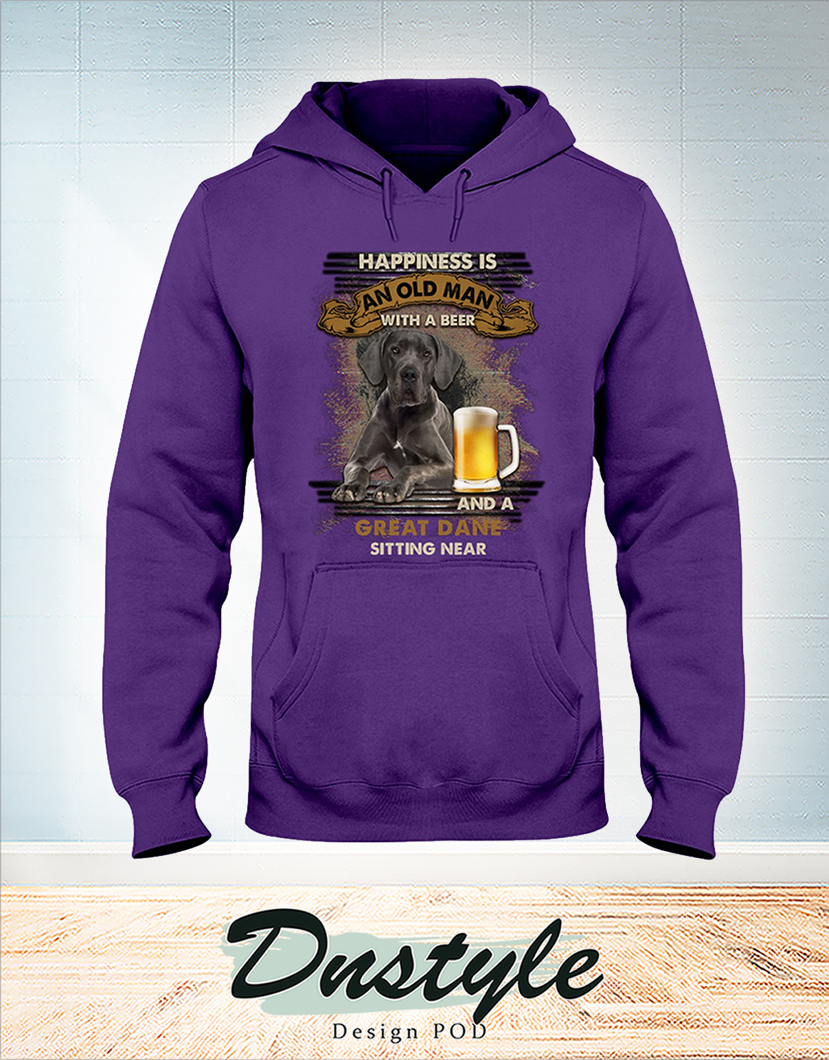 Great Dane happiness is an old man with a beer hoodie