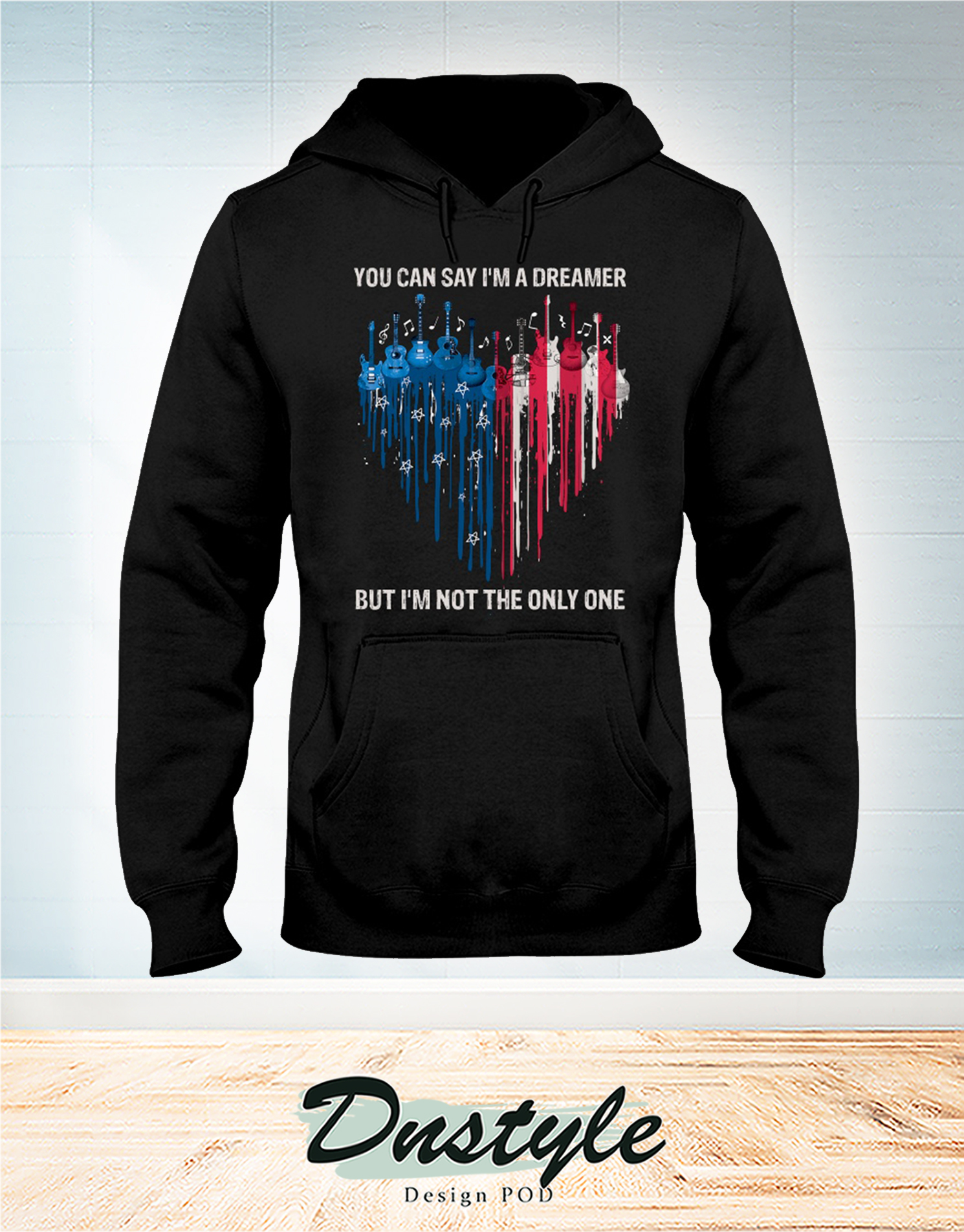 Guitar heart colors you can say I'm a dreamer independence day hoodie