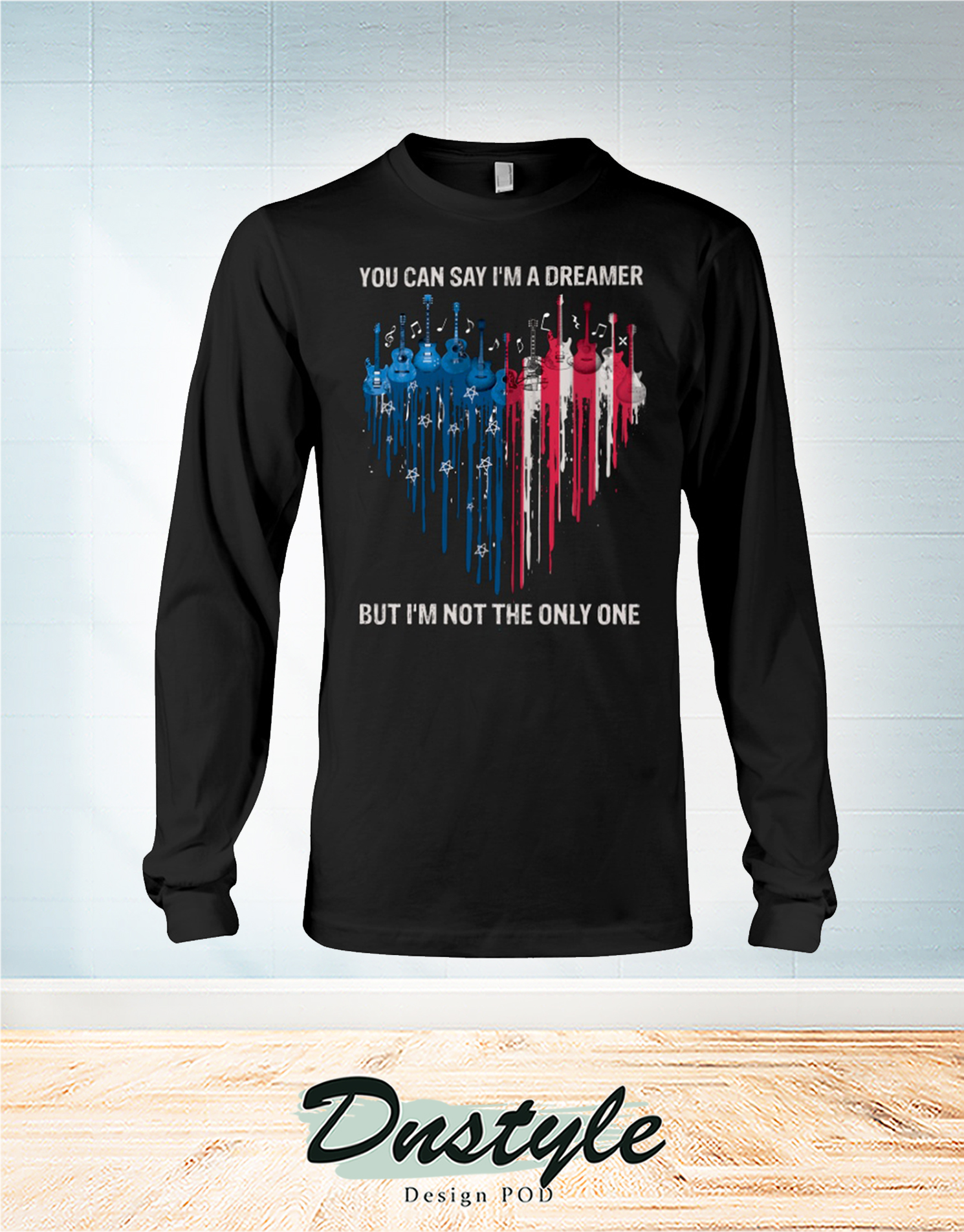 Guitar heart colors you can say I'm a dreamer independence day long sleeve
