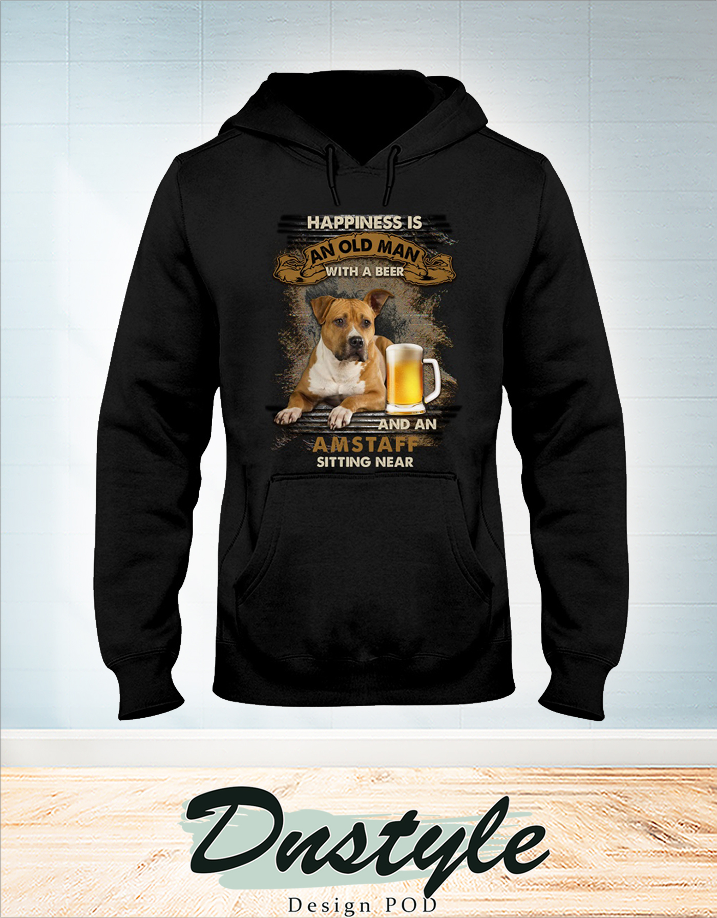Happiness is an old man with a beer and a Amstaff sitting near hoodie