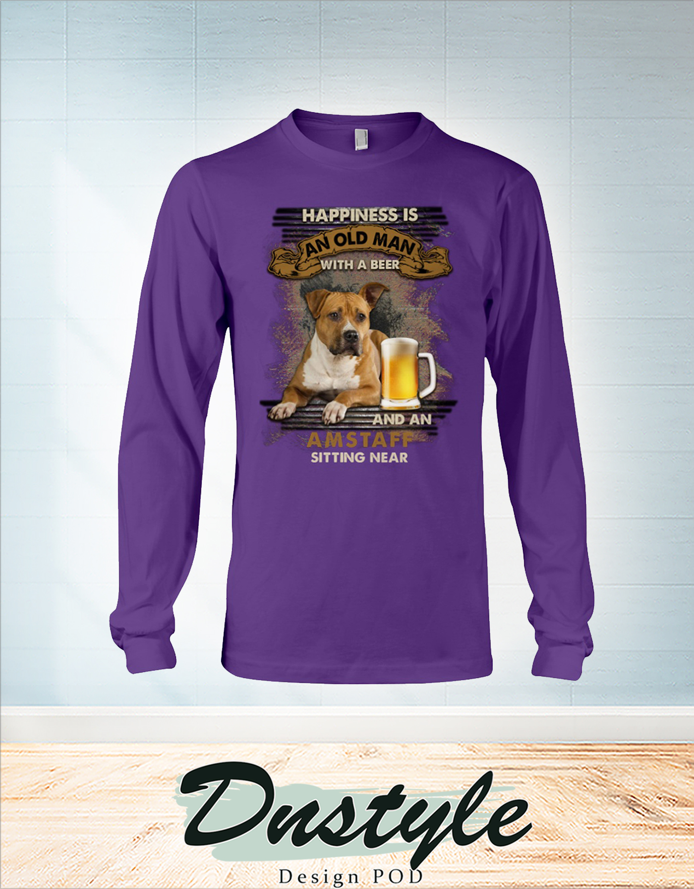 Happiness is an old man with a beer and a Amstaff sitting near long sleeve