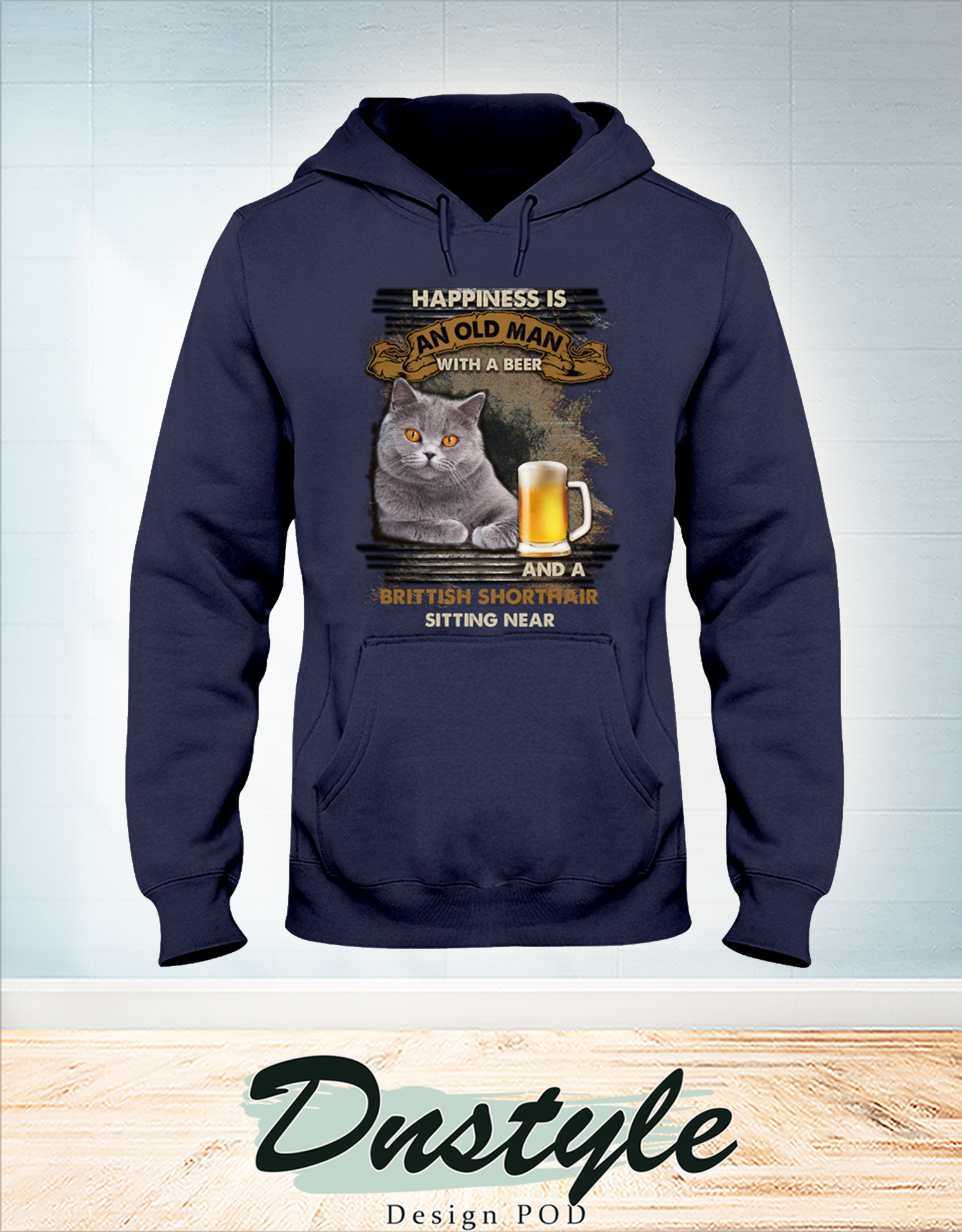 Happiness is an old man with a beer and a Brittish Shorthair sitting near hoodie